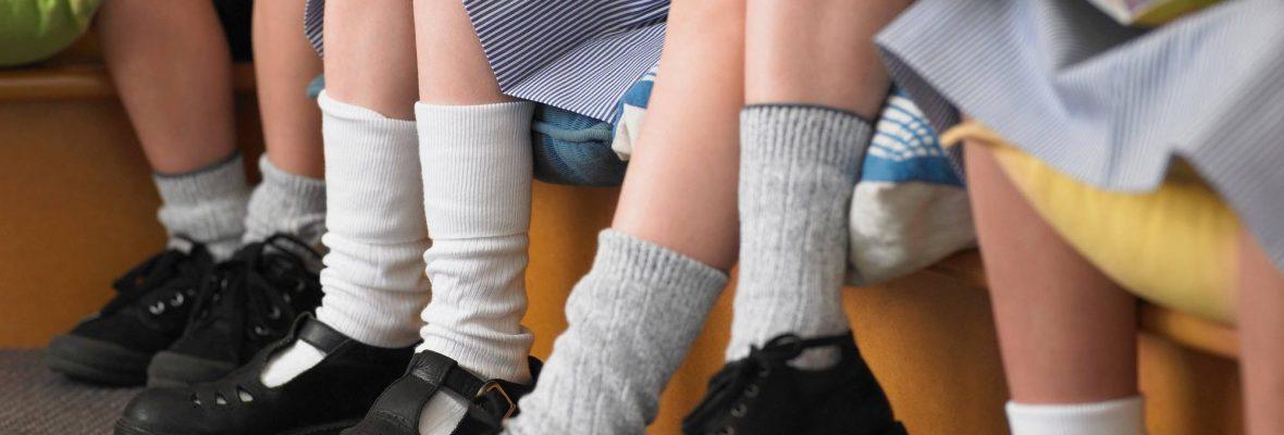 school kids legs bokeh